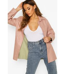 faux leather utility jacket, stone