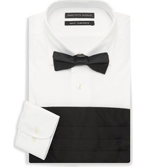 saks fifth avenue men's 3-piece dress shirt, bow tie & cummerband set - white - size 16.5 36