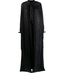 murmur cape-style long dress - black