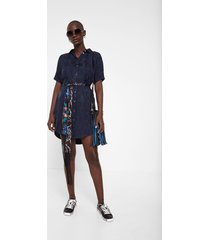 shirt dress vegetable embossing - blue - xl