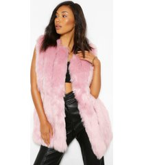 luxe longline panelled faux fur gilet, light pink