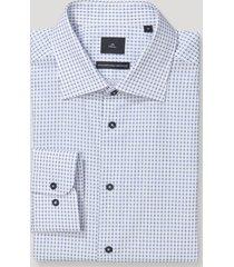 camisa clasicc cuello italiano blanco/azul trial
