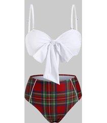 knot piping plaid bandeau bikini swimwear
