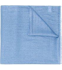 brunello cucinelli metallic sheen frayed scarf - blue