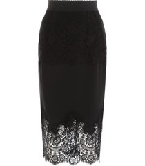 dolce & gabbana midi skirt with lace