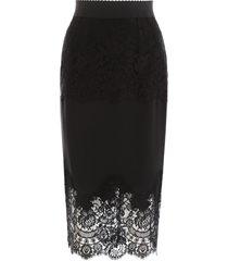 dolce & gabbana midi skirt with lace
