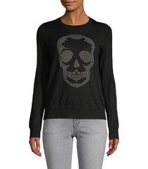 zadig & voltaire women's miss skull merino wool sweater - grey - size xs