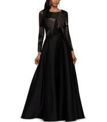 betsy & adam sparkle-top ball gown
