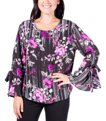 ny collection floral stripe bell-sleeve top