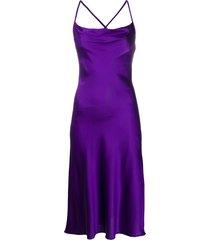 andamane cowl neck cross-strap satin midi dress - purple