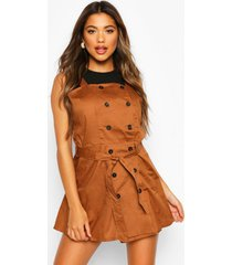 button strappy pinafore dress, camel