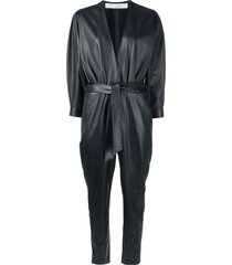 iro healy belted leather jumpsuit - black