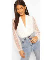 dobby mesh lunge top, ivory