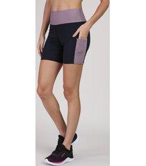 bermuda feminina esportiva ace cintura super alta com bolso em tela preta