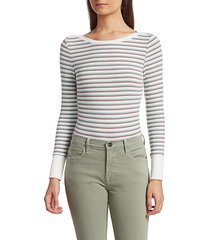 frame women's cropped striped knit top - sage multi - size l