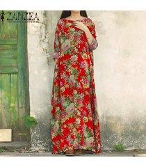 zanzea mujeres de manga larga batwing dolman vintage estampado floral estilo chino algodón fiesta vestido largo largo baggy kaftan vestido tallas grandes rojo -rojo