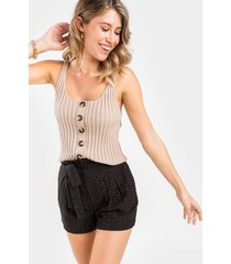 cody button front sweater tank top - heather oat