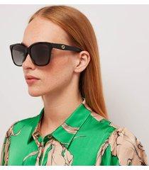 gucci women's classic acetate sunglasses - black/grey