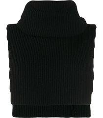 cashmere in love knit overlay brooke vest - black