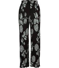 plisserade byxor miamoda svart::silverfärgad
