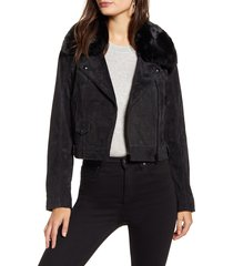 women's blanknyc removable faux fur collar suede moto jacket, size large - black