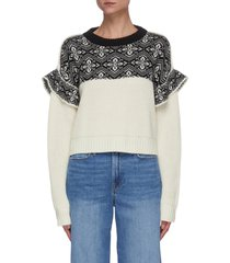 contrast knit flare sweater