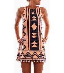 vestido sin mangas con estampado geométrico naranja cuello vestidos sin mangas