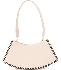 elleme swing lace-trim shoulder bag - neutrals