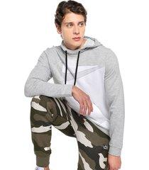 buzo gris-blanco nike dry hoodie po flc gsp lt smoke