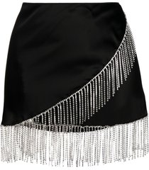 oséree crystal fringe wrap skirt - black