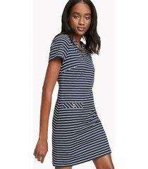 tommy hilfiger women's essential sailor stripe dress sky captain / ivory - 10