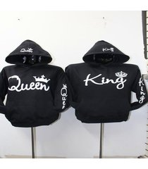 2017 fashion new couple clothing king queen long sleeve o neck pocket sweatshirt