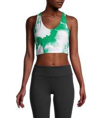 sage collective women's cloud-print sports bra - kelly green - size xs
