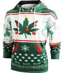 christmas snowflake print long sleeve hoodie