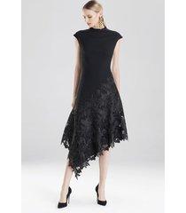 crepe and guipure lace dress, women's, black, size 4, josie natori