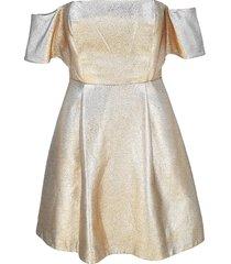 sandro women's metallic off-the-shoulder mini dress - gold - size 1 (s)