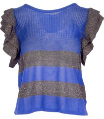 manila grace designer t-shirts & tops, purple lurex ruffle women's t-shirt