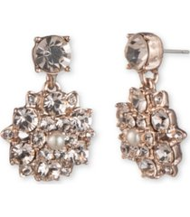 marchesa rose gold-tone imitation pearl & crystal flower drop earrings