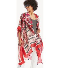 women's floral patchwork kimono ivory multi one size from sole society