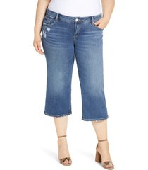 plus size women's slink jeans distressed wide leg capri jeans