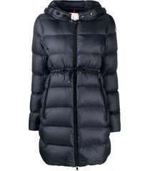 moncler tie waist padded coat - blue