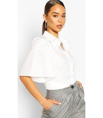cotton flared sleeve shirt, ivory
