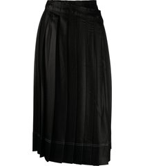 acne studios pleated wrap-front skirt - black