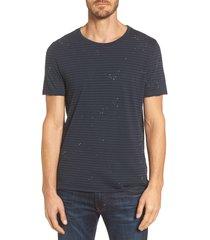 men's ag julian slim fit stripe raw t-shirt, size large - blue