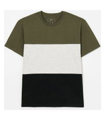 camiseta manga curta com recortes lisa   blue steel   multicores   pp