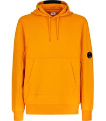 c.p. company orange cotton fleece hoodie