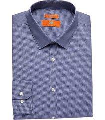 egara orange men's extreme slim fit dress shirt blue dots - size: 16 34/35