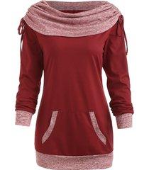drawstring ruched contrast sweatshirt