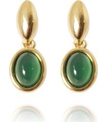 brinco pedra oval semijoia banho de ouro 18k ãgata verde base oval - verde - feminino - dafiti