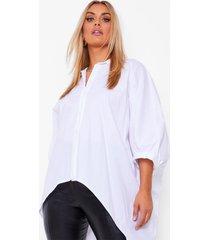 plus oversized blouse met open rug en vleermuismouwen, white